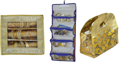 Bahurani Boutique Combo of Pouch Vanity Box(Gloden)