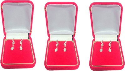 Addyz pack of 3 red single pair Big hanging Earring, Tops, studs jewellery Vanity Box(RED)