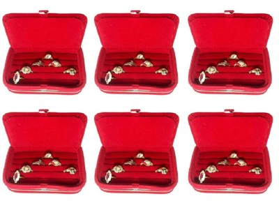 Abhinidi Pack of 6 Ring earring case Travelling pouch Box Vanity Box(Red)