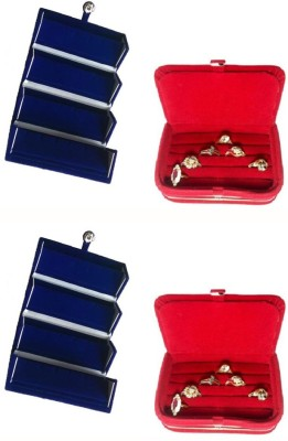 Abhinidi Pack of 4 Ear Ring Folder Ring Case Travelling Pouch Box Vanity Box(Blue,Red)