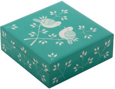 The Crazy Me Mint Green Birds Wooden Makeup Vanity Box(Multicolor)