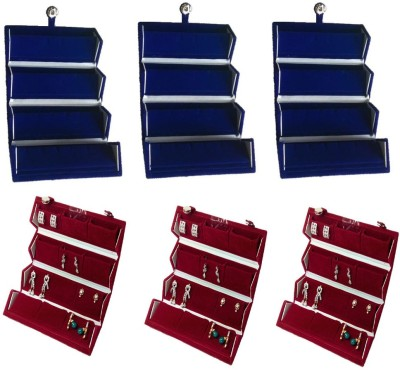 Abhinidi Pack of 6 Ear Ring Folder Case Travelling Pouch Organizer Vanity Box(Blue,Red)