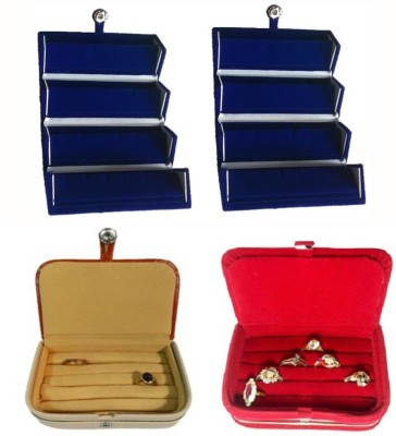 Abhinidi Pack of 3 Ear Ring Folder Ring case Travelling Pouch Box Vanity Box(Blue,Brown,Red)
