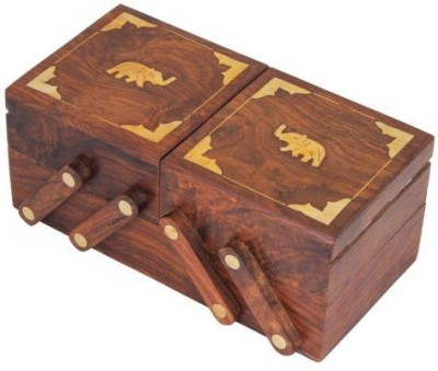 Kartique Hand Made Wooden Multi Utility Jewellery Box Vanity Box(Brown)