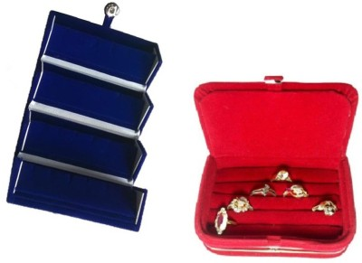 Abhinidi Pack of 2 Ear Ring Folder Ring case Travelling Pouch Box Vanity Box(Blue,Red)