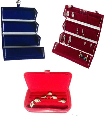 Abhinidi Pack of 3 Ear Ring Folder, Ring Case, Travelling Pouch Organizer Vanity Box(Blue,Red)