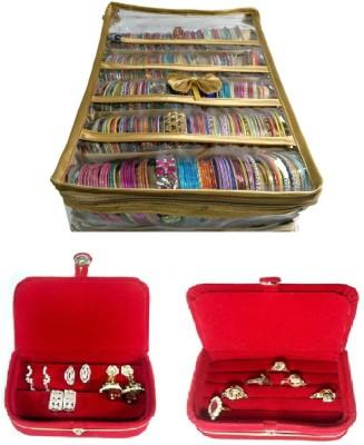 Addyz 5 Rods Bangle Earring Ring Jewellery Vanity Box(Golden, Red, Red) at flipkart