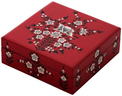 The Crazy Me Flowery Nature Wooden Makeup Vanity Box(Multicolor)