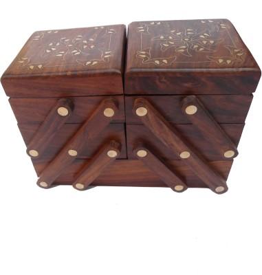 Handicraft THICK SHEESHAM MADE SLIDER BOX OF 5 COMPARTMENTS jewellerryy Vanity Box(BROWN)