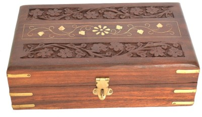 Woodino Brown Small Makeup and Jewellery Vanity Box(Brown) at flipkart