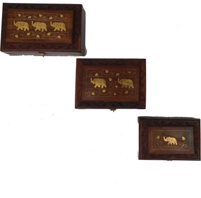 Handicraft SHEESHAM WOOD & BRASS MADE 3PC SET JEWELLERY Vanity Box(BROWN)