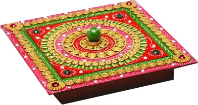 Aapno Rajasthan Hand Crafted Multipurpose Box With Clay And Wood Jewellery Vanity Box(Multicolor)