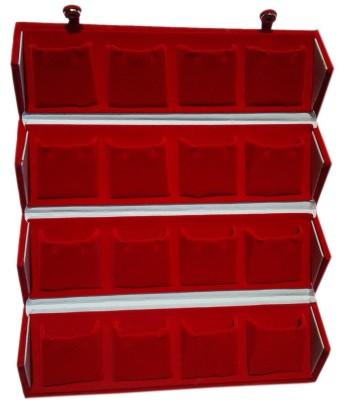 Atorakushon 16 pair Earrings Organizer Red Velvet Folding Box Travelling Vanity Pouch Vanity Box(Red)