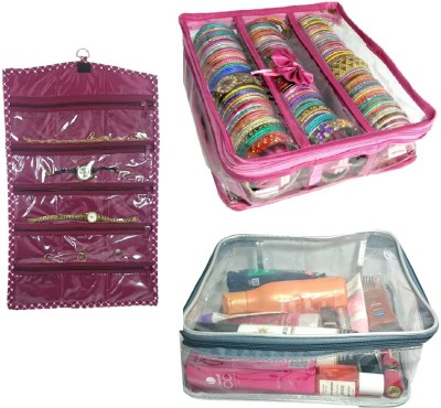 Addyz Combo 3 Rod Satin Bangle Case with 1 watch cover and 1 transparent hankey cover jewellery Vanity Box(pink)