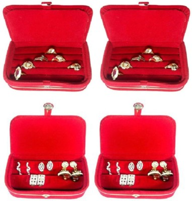 Abhinidi Pack of 4 Ring box earring case Travelling Pouch Box Vanity Box(Red)