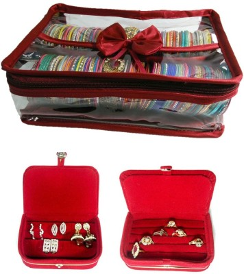Addyz Combo 2 Rods Bangle Earring Ring Jewellery Vanity Box(Maroon, Red, Red) at flipkart