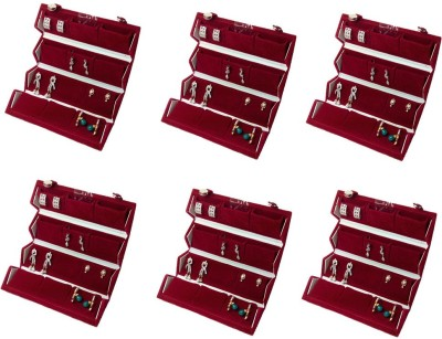Abhinidi Pack of 6 Ear Ring Folder earring case Travelling Pouch Box Vanity Box(Red)