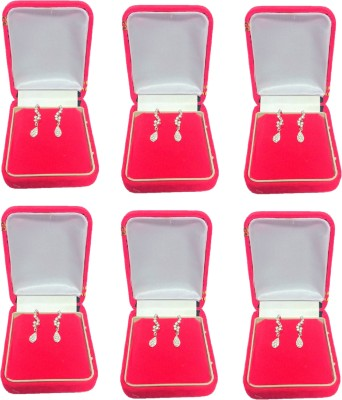 Addyz pack of 6 red single pair Big hanging Earring, Tops, studs jewellery Vanity Box(RED)