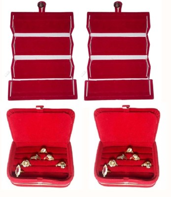 Abhinidi Pack of 4 Ear Ring Folder Ring case Travelling Pouch Box Vanity Box(Red)