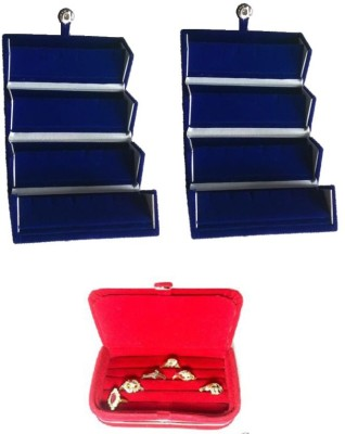 Abhinidi Pack of 3 Ear Ring Folder Ring case Travelling Pouch Box Vanity Box(Blue,Red)