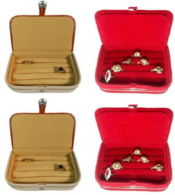 Abhinidi Pack of 4 Ring box earring case Travelling Pouch Box Vanity Box(Brown,Red)