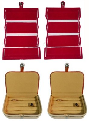 Abhinidi Pack of 4 Ear Ring Folder Ring Case Travelling Pouch Box Vanity Box(Red,Brown)
