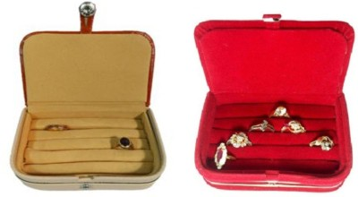 Abhinidi Pack of 2 Ring box earring case Travelling Pouch Box Vanity Box(Brown,Red)