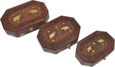 Artist Haat Two Elephant Design Box (Set Of 3) Makeup and Jewellery Vanity Box(Brown)
