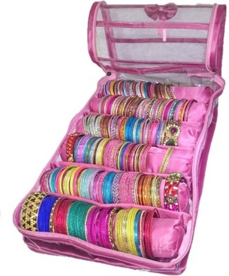 Addyz Six Rods Bangle Bracelet Watch Bag Jewelery Vanity Box(Pink) at flipkart