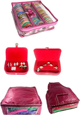 Addyz combo of 3 Rod Bangle Bag, Earring, Ring box with 1 saree 1 blouse cover_Nonwoven jewellery Vanity Box(pink, RED)
