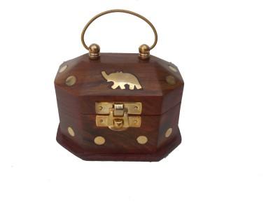Handicraft SHEESHAM WOOD & BRASS MADE SMALL SIZE JEWELLERY BOX Vanity Box(BROWN, GOLD)