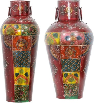 Apkamart Handcrafted Set of 2 Flower Pot 18 Inch & 24 Inch Cast Iron Vase(18.4 inch, Multicolor) at flipkart