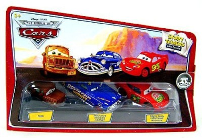Disney Pixar Cars Movie 1:55 Die Cast Story Tellers Collection 3-Pack Fred, Fabulous Hudson Hornet And Smell Swell Lightning Mcqueen(Multicolor)  available at flipkart for Rs.3441