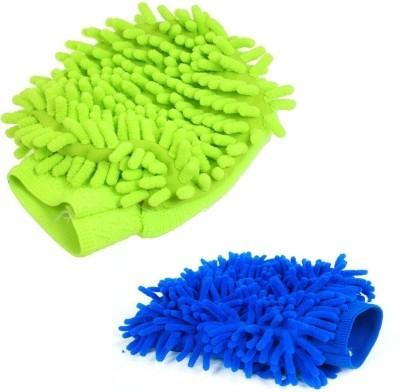 Shopaholic Microfiber Vehicle Washing  Hand Glove(Pack Of 2)