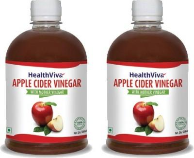 HealthViva With Mother Vinegar Apple Cider Vinegar(2x500 ml, Unflavored Flavored)
