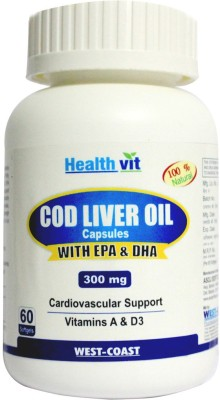 HealthVit Cod Liver Oil 300 mg(60 No)  available at flipkart for Rs.390