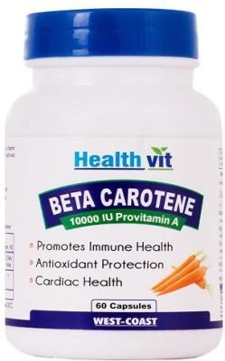 Healthvit Beta Carotene 10000 IU Provitamin-A Supplements (60 Capsules)