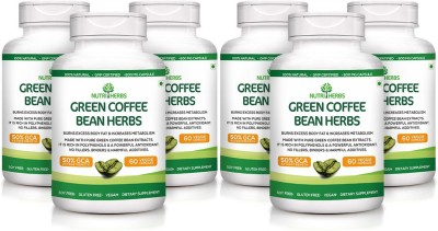 Nutriherbs Green Coffee Bean herbs 800 mg (50% CGA) 60 Capsules 100% Natural Weight loss Pack of 6(360 No)