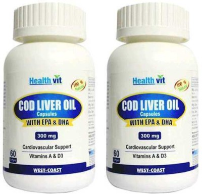HealthVit Cod Liver Oil 300 mg (Pack of 2)(60 No)  available at flipkart for Rs.800