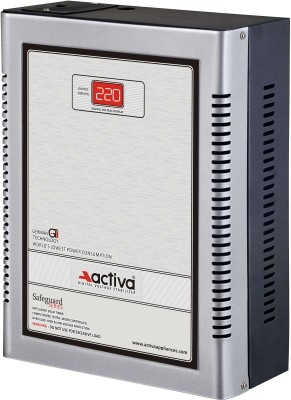 ACTIVA ( 5 KVA /140-300 VOLTS SILVER-BLACK ) DIGITAL AC VOLTAGE STABILIZER(SILVER-BLACK)