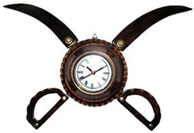 Craftatoz Analog-Digital Wall Clock(Brown, With Glass)