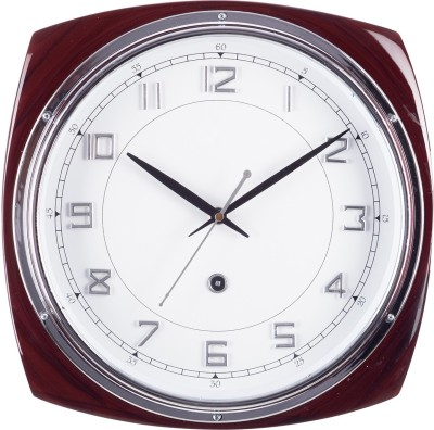eCraftIndia Analog Wall Clock(Brown, With Glass) at flipkart