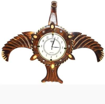 Craftatoz Analog Wall Clock(Brown, Without Glass)