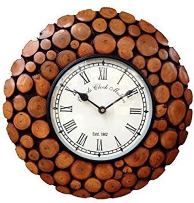Craftatoz Analog 35 cm X 35 cm Wall Clock(Brown, With Glass)