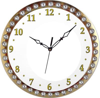 Prateek Retail Analog Wall Clock(Golden, With Glass)