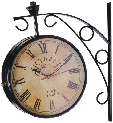 victoria Station Clocks Analog 30 cm X 9 cm Wall Clock(Black, With Glass) at flipkart