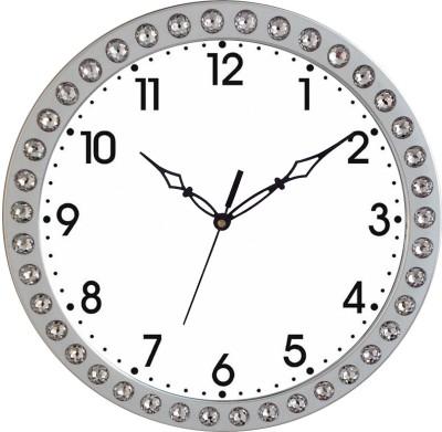 Prateek Retail Analog Wall Clock(Silver, With Glass)