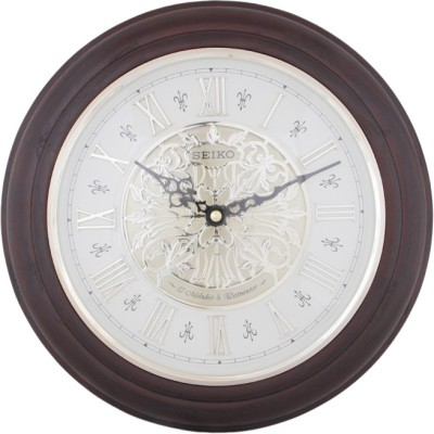 3 Off On Seiko Analog Wall Clock Brown With Glass On