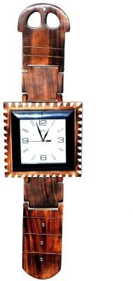 Craftatoz Analog 60 cm X 20 cm Wall Clock(Brown, With Glass)
