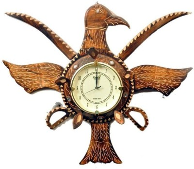 Craftatoz Analog 55 cm X 30 cm Wall Clock(Brown, With Glass)